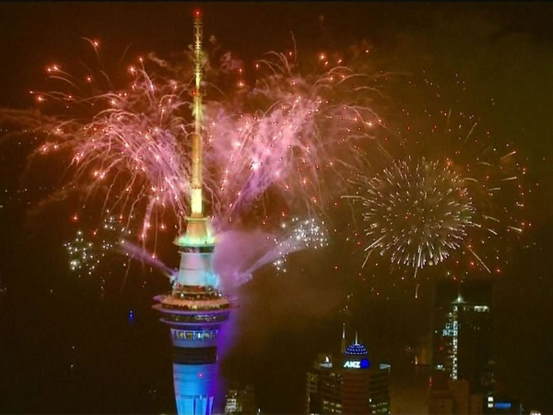 Auckland welcomes the new year with celebratory fireworks.