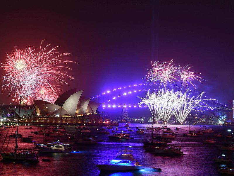 Fireworks are seen from Mrs. Macquarie's Chair during New Year's Eve celebrations in Sydney, Australia.