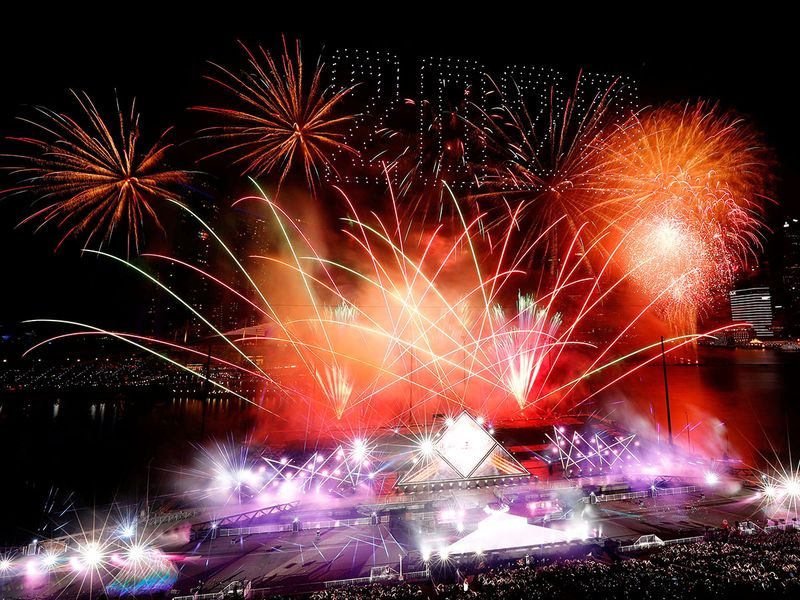 Fireworks explode over Marina Bay during New Year's Eve celebrations in Singapore.