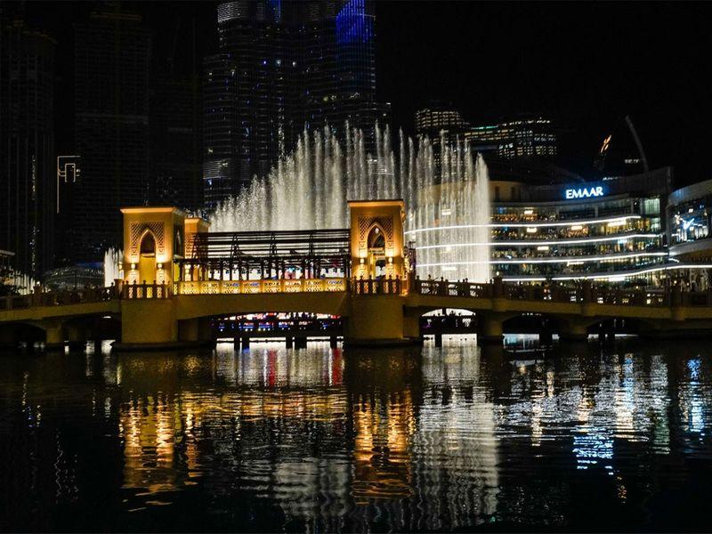 People wait to witness the fireworks at Burj Khalifa.