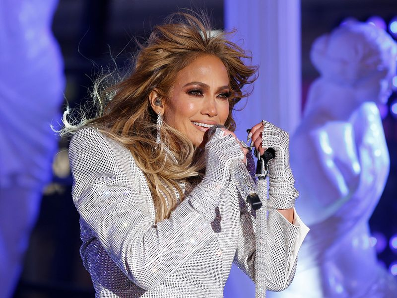 Jennifer Lopez performs in Times Square on New Years Eve in New York City, U.S., December 31, 2020. Gary Hershorn/Pool via REUTERS