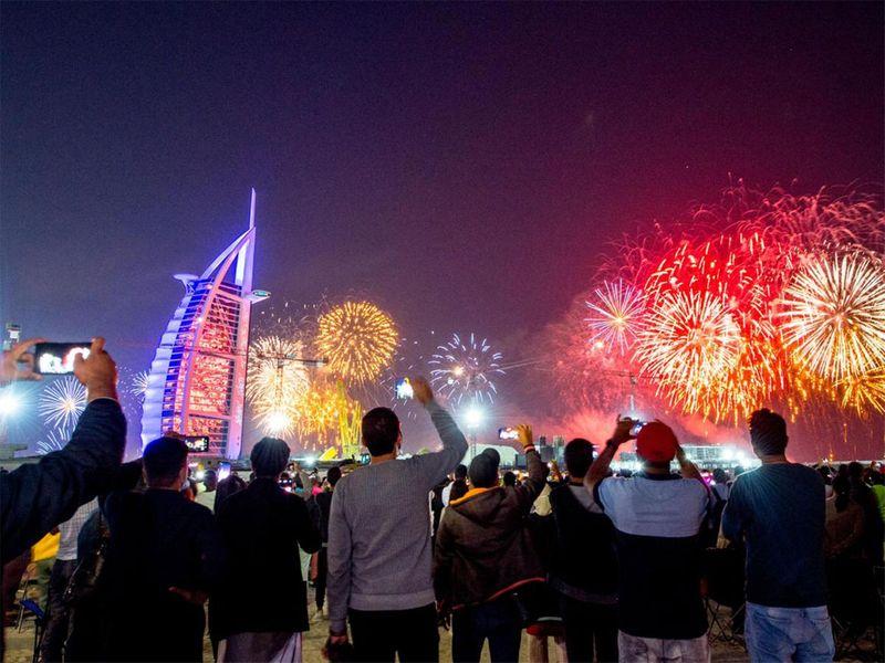 NYE burj al arab fireworks