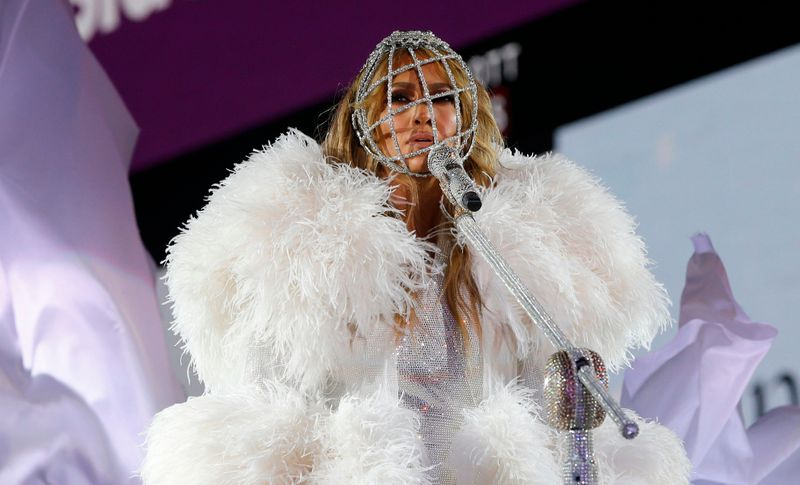 Singer Jennifer Lopez performs in Times Square during New Year's Eve celebrations on December 31, 2020 in New York City. (Photo by Gary Hershorn / various sources / AFP)