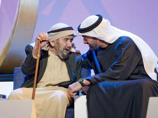 Sheikh Mohamed bin Zayed with Emirati veteran Aqeeda Ali Al Muhairi