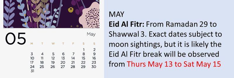 Calendar school holidays