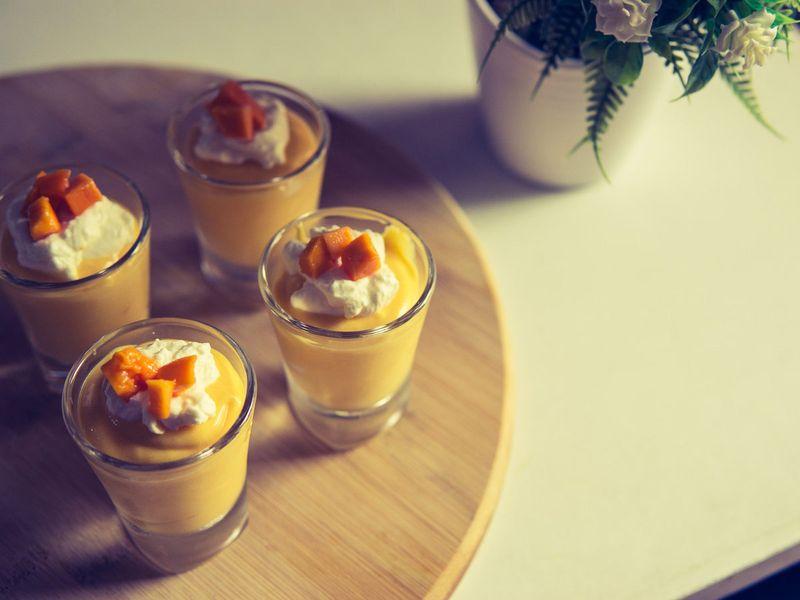 Mango tango mousse with mango jelly
