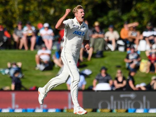 New Zealand bowler Kyle Jamieson celebrates after taking a wicket against Pakistan
