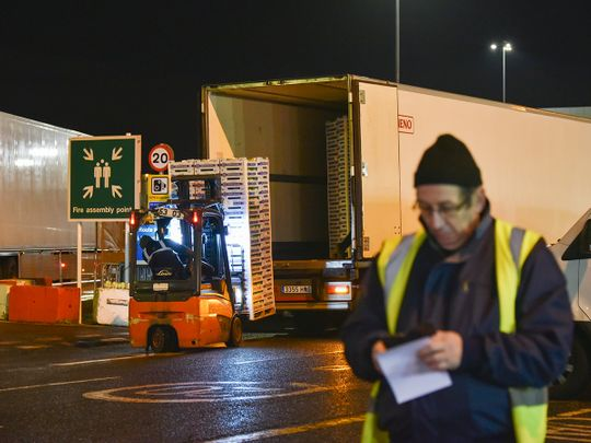 A man unloads a lorry in New Covent Garden Market