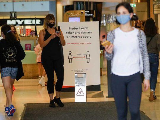 Sydney Australia shoppers mask