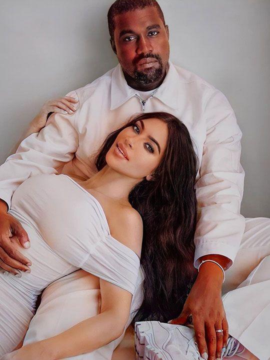 Kim Kardashian  and husband US rapper Kanye West