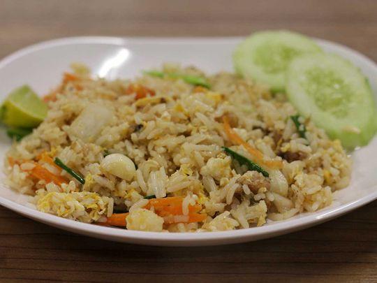 Egg fried Jasmine rice with cucumber shreds