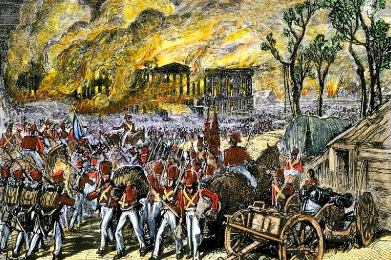 1814: BRITISH ATTACK. The US Capitol building