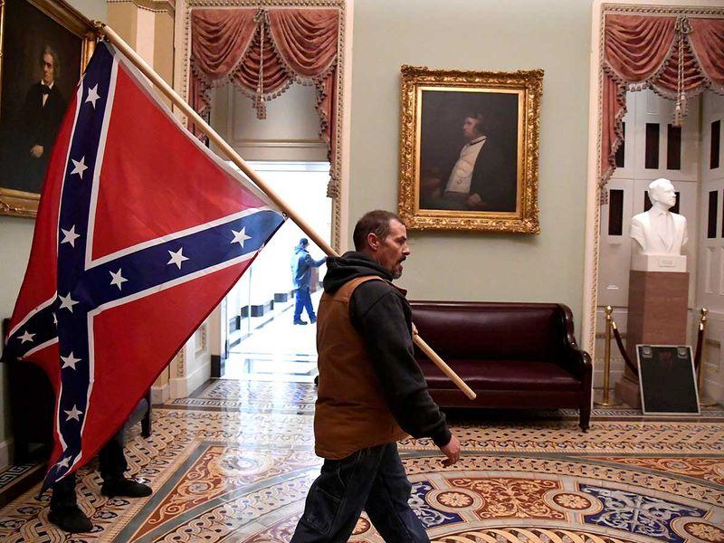 Confederate flag Trump supporter Capitol Hill