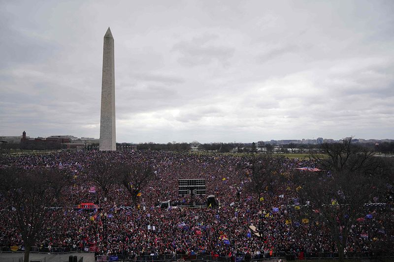 Crowds of people gather as US President Donald Trump speaks to supporters from The Ellipse near the White House on January 6, 2021, in Washington.