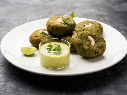 Vegetarian spinach and potato kebabs