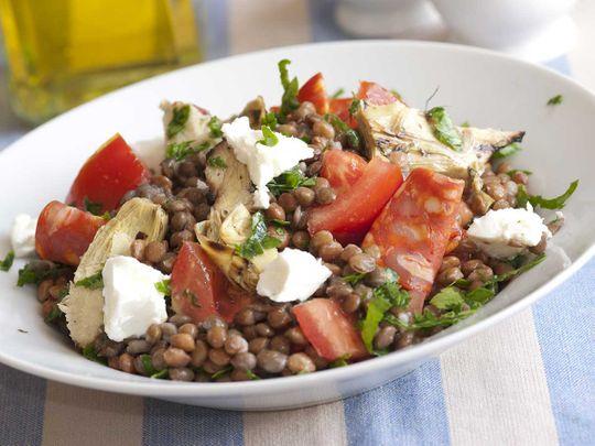 Warm lentil and feta salad