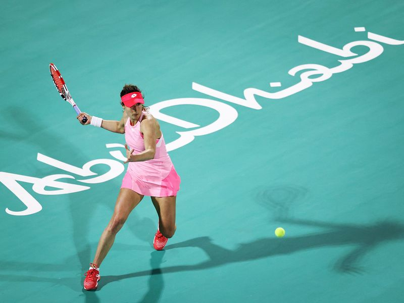 Alize Cornet in action at Abu Dhabi WTA Women's Open