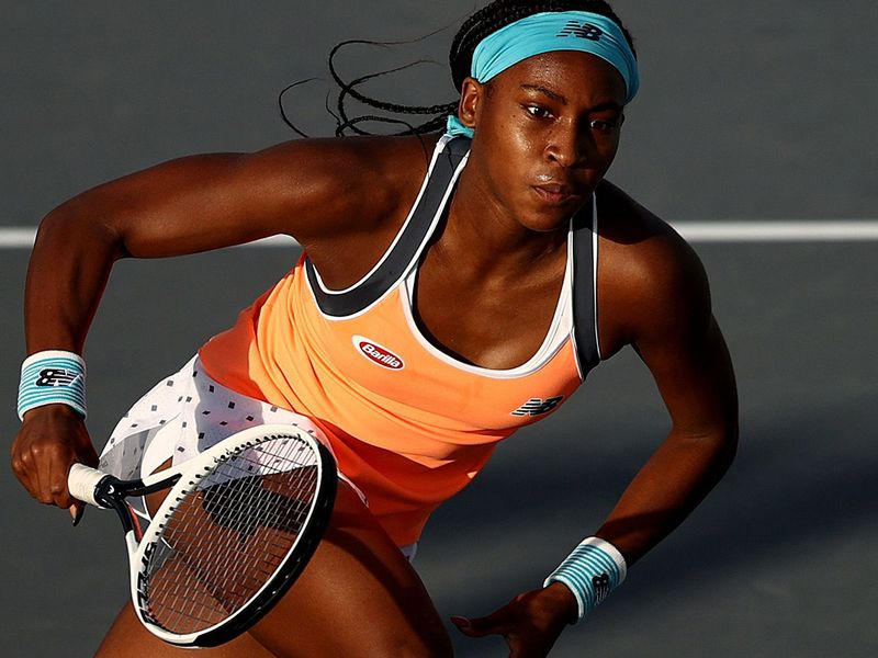 Coco Gauff in action at Abu Dhabi WTA Women's Open