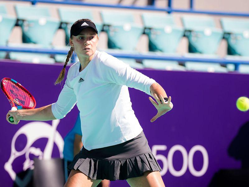 Elena Rybakina in action at Abu Dhabi WTA Women's Open
