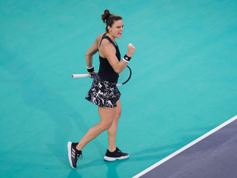 Maria Sakkari in action at Abu Dhabi WTA Women's Open