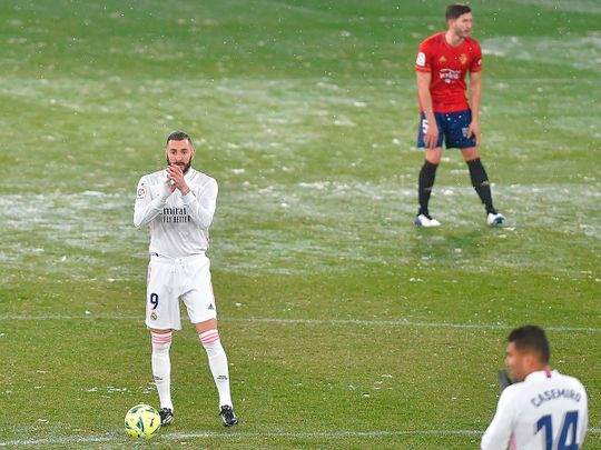 Real Madrid and Osasuna feel the chill during their match on Saturday.