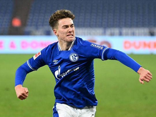 Schalke's Matthew Hoppe celebrates scoring their second goal against Hoffenheima