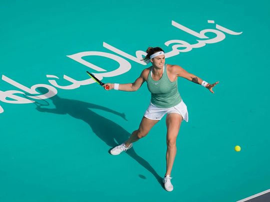 Aryna Sabalenka in action at the Abu dhabi WTa Women's Open