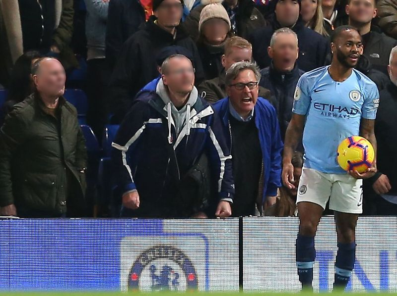 Manchester City's Raheem Sterling is abused by Chelsea fans