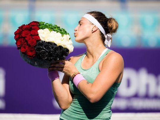 Aryna Sabalenka with the Abu Dhabi WTA Women's Open trophy