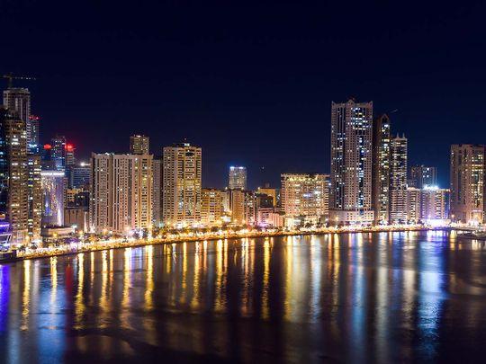 Stock Buhairah Corniche and Sharjah Skyline