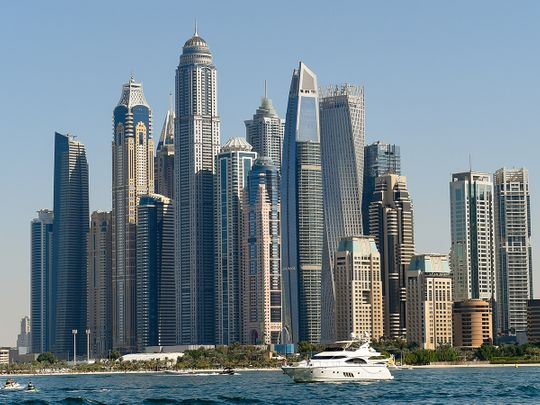 Stock Dubai Skyline Marina