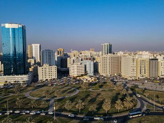 Stock Sharjah Skyline, Al Khan Lagoon