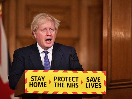 British Prime Minister Boris Johnson holds a media briefing on the coronavirus pandemic in Downing Street, London, Britain January 15, 2021.