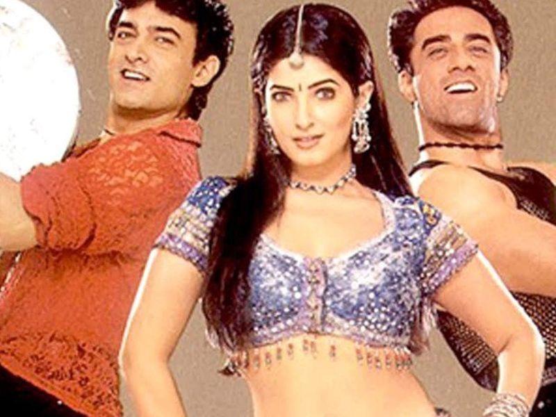Aamir Khan, Twinkle Khanna and Faisal Khan in Mela