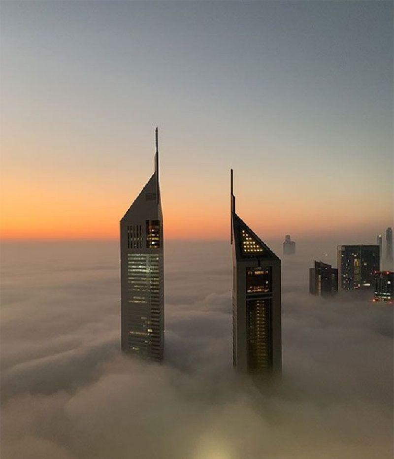 Dubai fog Emirates towers