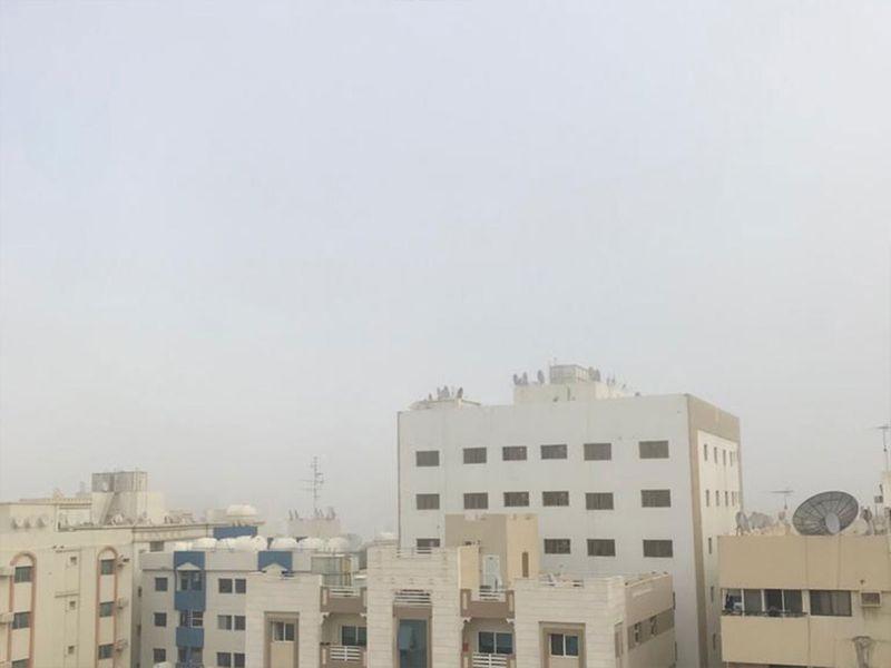 Fog covers Sharjah buildings