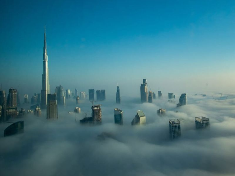 Fog covers skyscrapers in Downtown Dubai