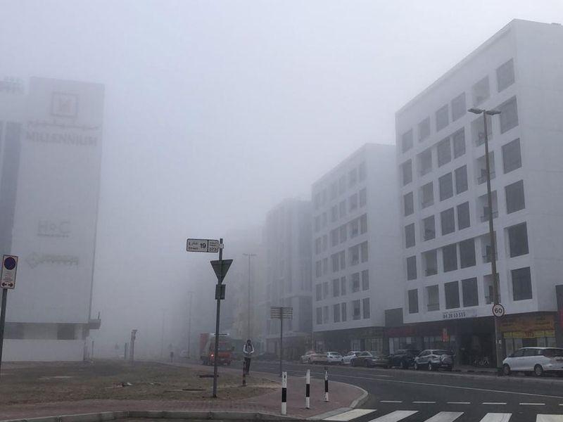 Fog in Al Barsha, Dubai