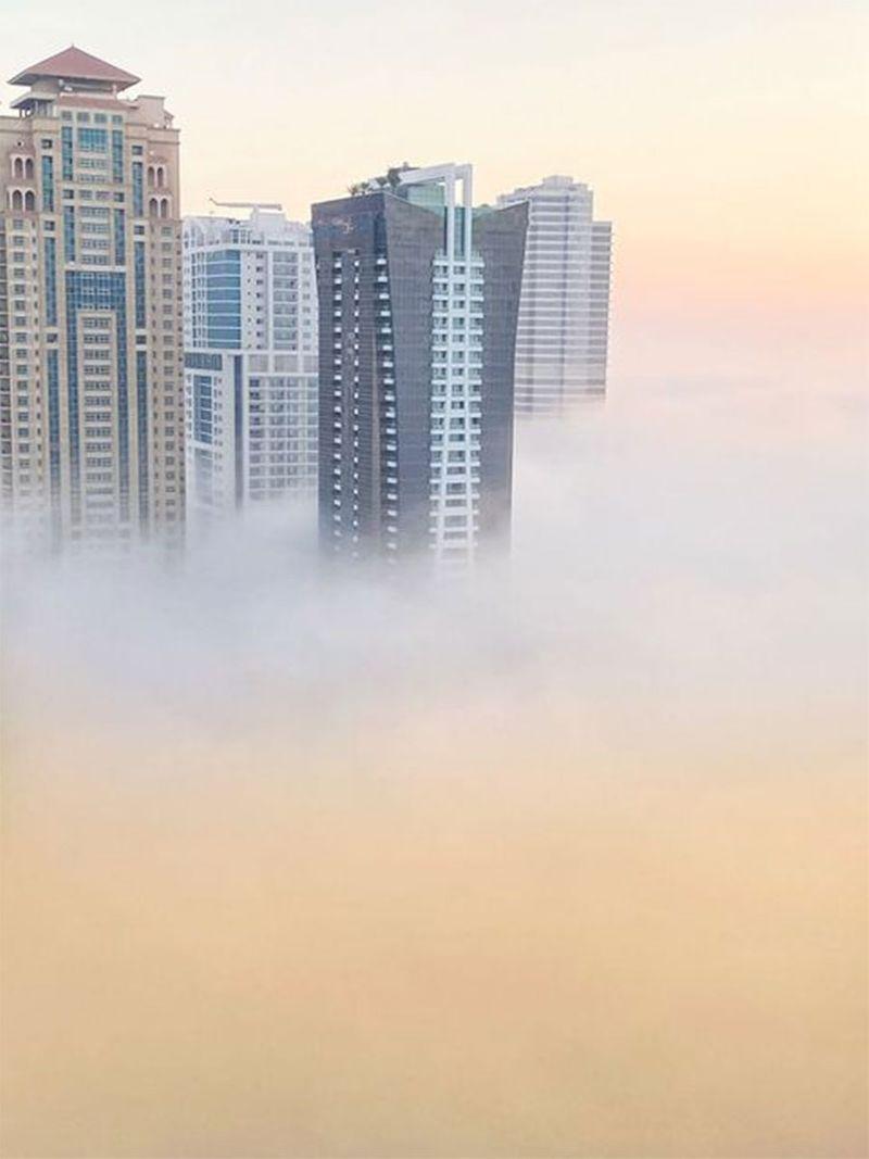Fog in Jumeirah Lake Towers