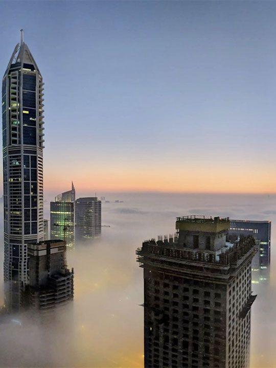 Fog pictures by Dubai Media twitter