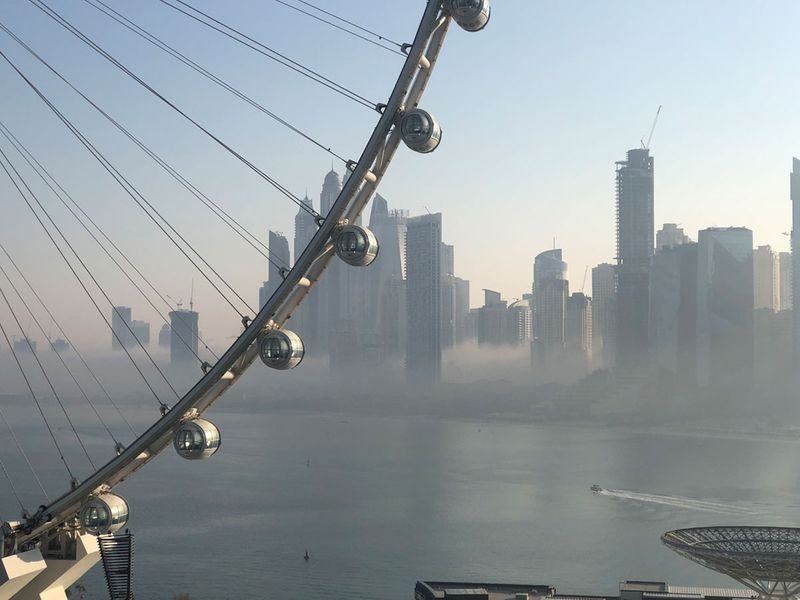 Fog seen from Bluewaters, Dubai