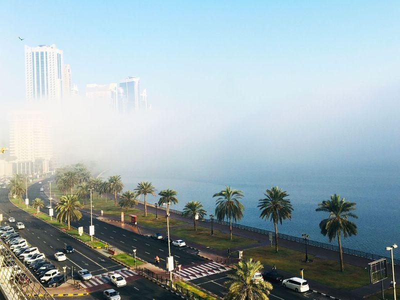 Foggy morning at the Buhaira Corniche, Sharjah