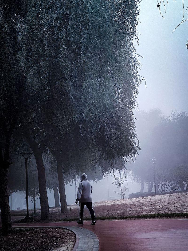 Foggy morning in Al Rashidiya, Dubai