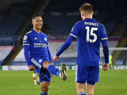 Leicester's Harvey Barnes, right, celebrates with Leicester's Youri Tielemans after scoring his side's second goal against Southampton