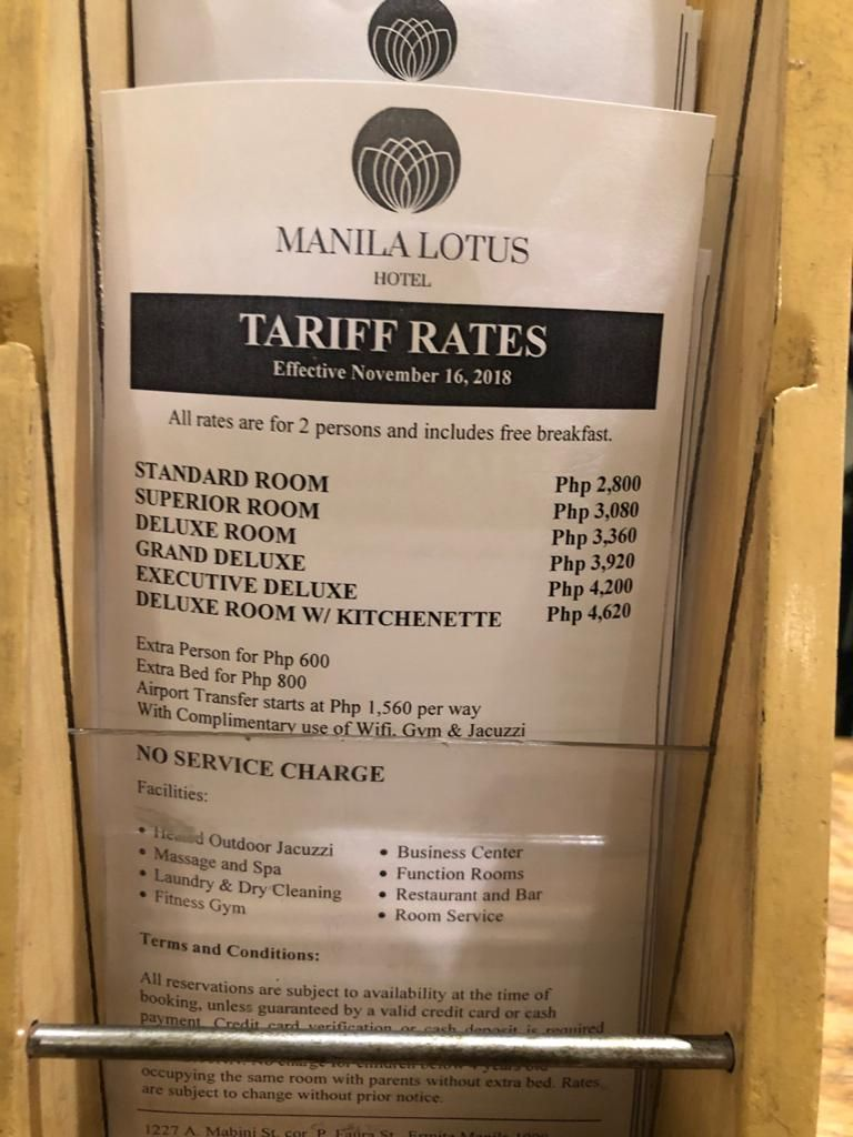 Room rates at a quarantine hotel in Manila ($1 = Php48)