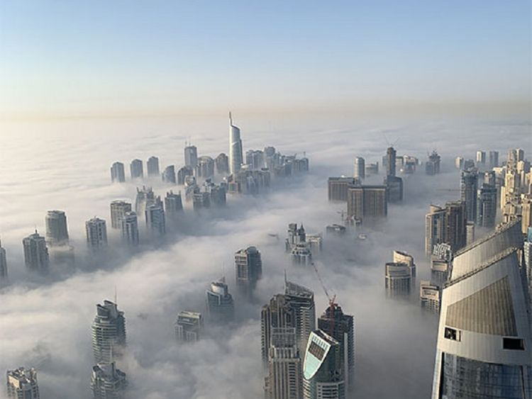 Thick fog blanketed the Dubai skyline this morning