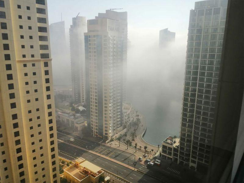 Thick fog in Jumeirah Beach Residence