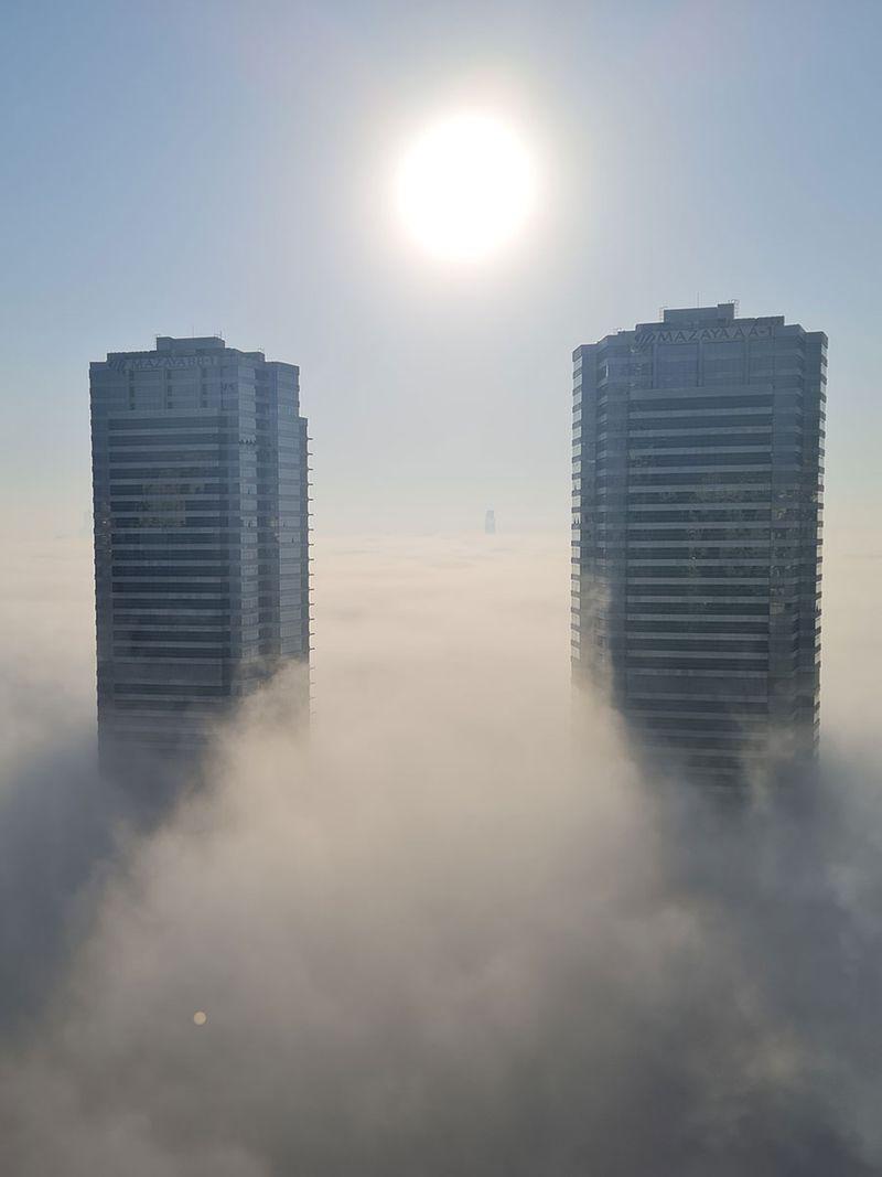 Thick fog in Jumeirah Lake Towers, Dubai