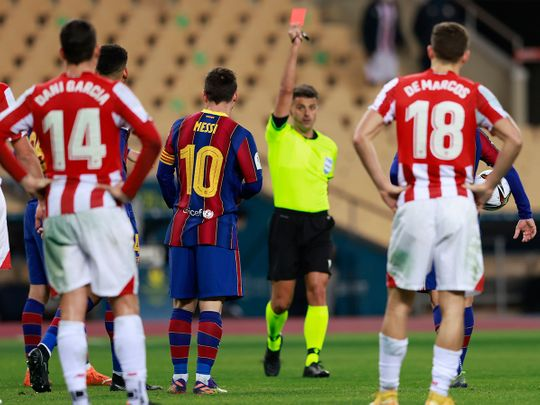 Messi sent off as Barcelona stunned by Bilbao in Super Cup final