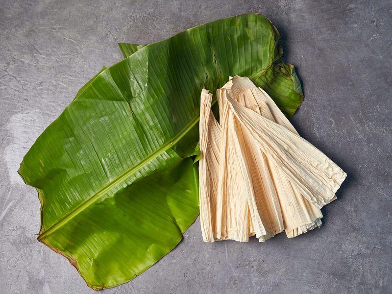 Banana leaves and corn husks